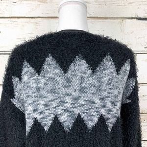 new directions Sweaters - XL Chevron Black & Grey Open Long Cardigan Sweater